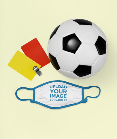 Face Mask Mockup Featuring a Soccer Ball and a Solid Color Backdrop m322