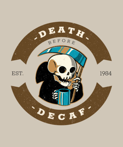 T-Shirt Design Creator for Coffee Enthusiasts with a Funny Illustration of the Grim Reaper 3132d