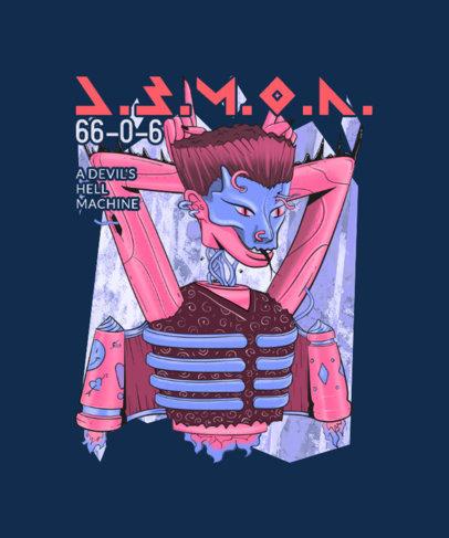 T-Shirt Design Maker Featuring a Demonic Robot Graphic 3809f