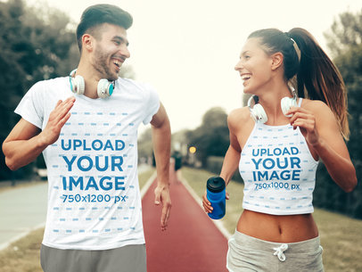 T-Shirt and Tank Top Mockup of a Man and a Woman Running Happily 43871-r-el2