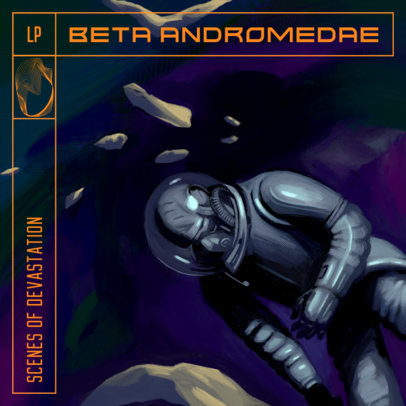 Illustrated Album Cover Design Creator with an Astronaut Stranded in Space 3805d