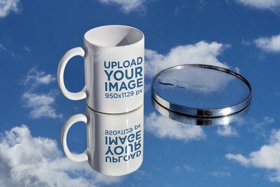 Mockup Featuring an 11 oz Coffee Mug over a Mirror Surface m593