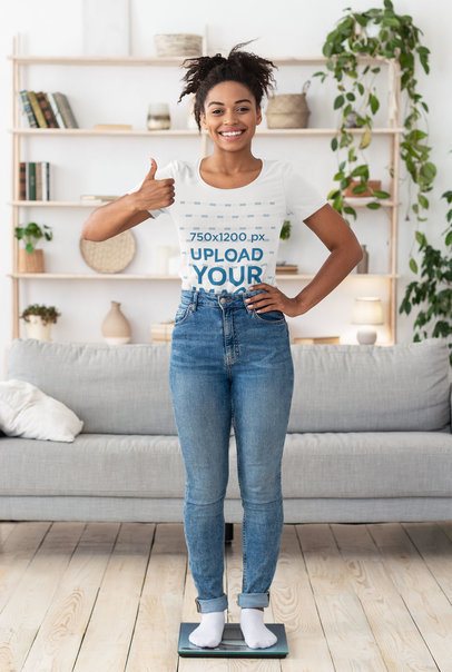 T-Shirt Mockup of a Woman Checking Her Weight 44607-r-el2