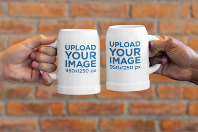 Mockup Featuring Two Beer Mugs Against a Brick Wall 33428a
