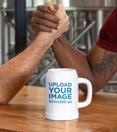 Beer Mug Mockup Featuring Two Men Arm Wrestling 33434a