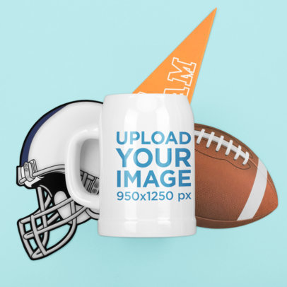 Mockup of a Beer Stein Featuring Football Equipment m369