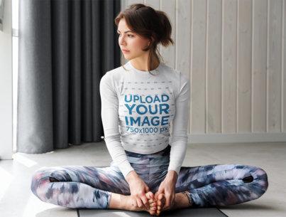 Long Sleeve Tee Mockup of a Woman in a Yoga Pose 44812-r-el2