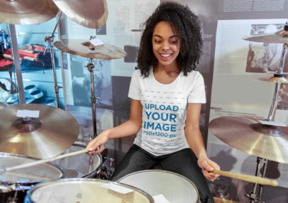 T-Shirt Mockup Featuring a Woman Playing Drums 44916-r-el2