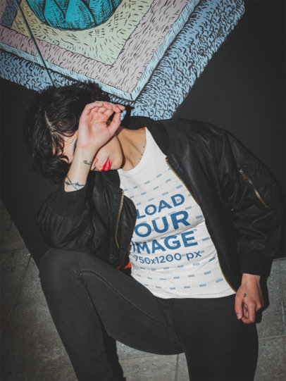 T-Shirt Mockup Featuring a Trendy Woman and a Hard Flash 18894a