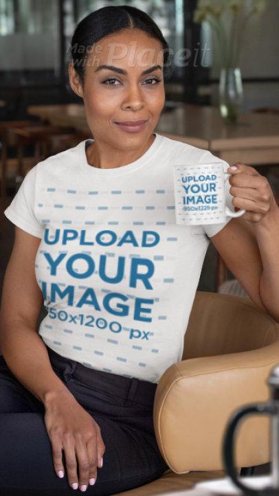 Parallax T-Shirt Video of a Woman Sitting on a Chair Holding an 11 oz Coffee Mug 2503