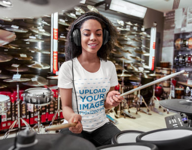 T-Shirt Mockup of a Woman Playing the Drums 44920-r-el2
