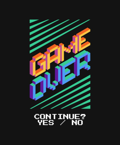 Gaming-Themed T-Shirt Design Template with 8-Bit Fonts 3164-el1