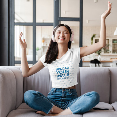 Crop Top Mockup of a Woman Listening to Music at Home 44483-r-el2