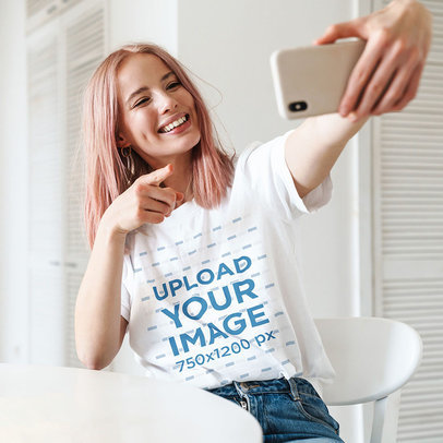 Unisex T-Shirt Mockup Featuring a Woman With Pink Hair Taking a Selfie 44785-r-el2