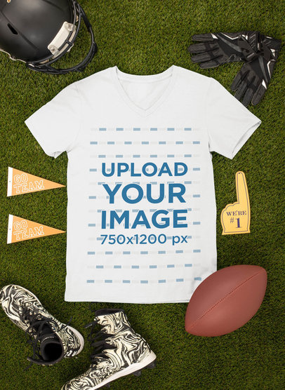 Mockup of a T-Shirt Surrounded by Football Paraphernalia m353