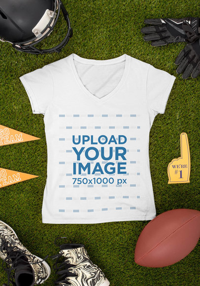 Mockup of a V-Neck Tee Surrounded by Football Paraphernalia m354