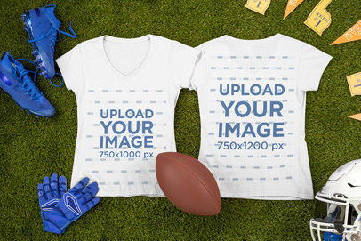 Mockup of Two V-Neck T-Shirts Flat Laid Next to Football Garments m330