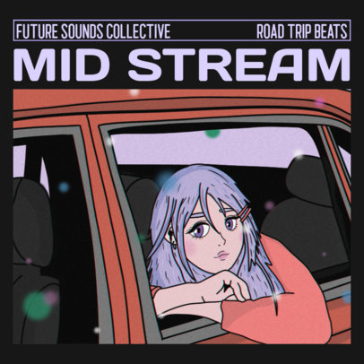 Album Cover Maker for a Beatmaker Featuring Lo-Fi Character Illustrations 3140g