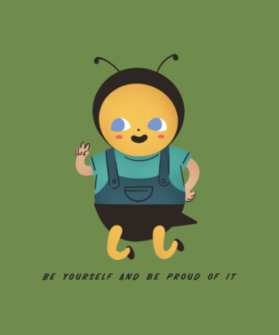 Illustrated T-Shirt Design Template with a Fictional Bee Character 3807g 3846