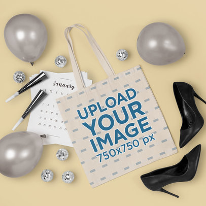 Mockup of a Tote Bag Featuring New Year's Party Elements m295