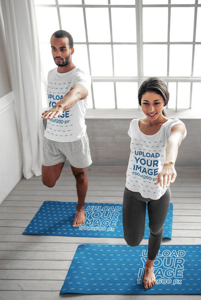 T-Shirt and Yoga Mat Mockup Featuring a Couple Doing Yoga 44963-r-el2