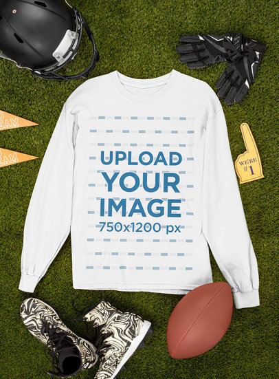 Mockup of a Long Sleeve Tee Surrounded by Football Equipment m359