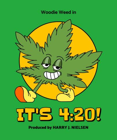 T-Shirt Design Creator Featuring a Cannabis Leaf Character 3130a