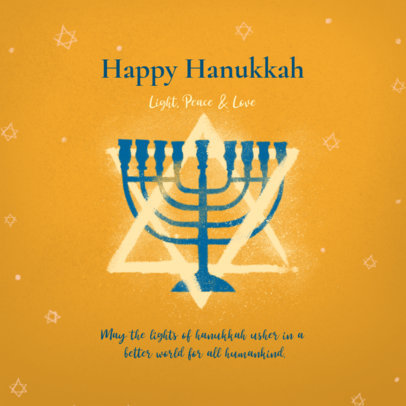 Holiday Instagram Post Template with Hanukkah Illustrations 3153d