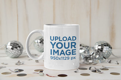 Mockup of an 11 oz Coffee Mug Surrounded by Party Decorations m278