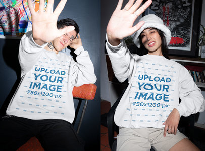 Sweatshirt Mockup Featuring Two Friends Covering Their Faces from the Flash m618