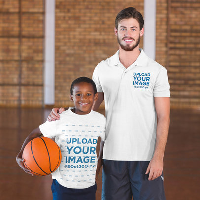 T-Shirt and Polo Shirt Mockup of a Basketball Coach and a Player Posing 44972-r-el2