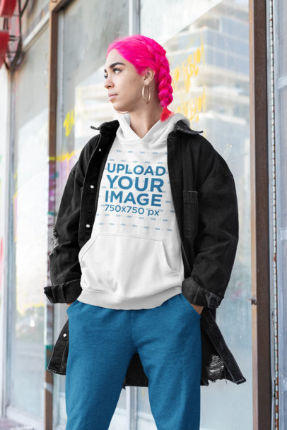 Athleisure Mockup of a Pink-Haired Woman Wearing a Hoodie m419