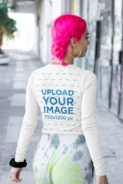 Back-View Mockup of a Woman with Pink Dyed Hair Wearing a Long Sleeve Tee m416