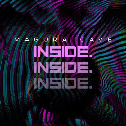 Album Cover Template for an EDM Artist Featuring Digital Glitch Textures 3159d