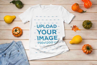 Mockup of a Flat-Laid T-Shirt Surrounded by Winter Squashes 39663-r-el2