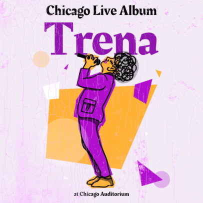 Album Cover Template Featuring a Jazz Singer 3136b