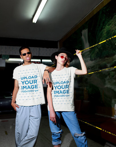 T-Shirt Mockup of a Man and a Woman Posing Featuring an Urban Aesthetic m549