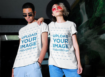 T-Shirt Mockup of a Man and a Woman with a Defiant Look m551