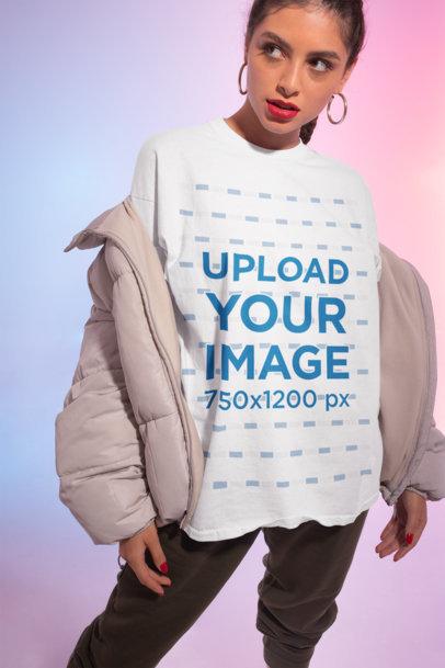 Mockup of a Defiant Woman Wearing a Unisex T-Shirt m634