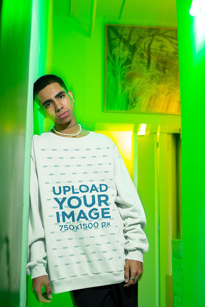Mockup of a Serious Man Wearing an Oversized Sweatshirt m574