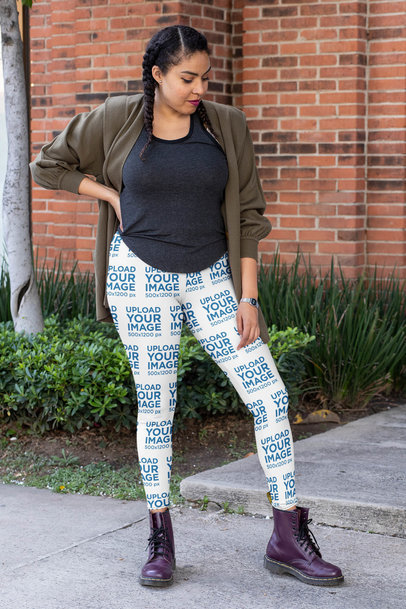 Leggings Mockup of a Woman with Braids in an Athleisure Outfit 32426a