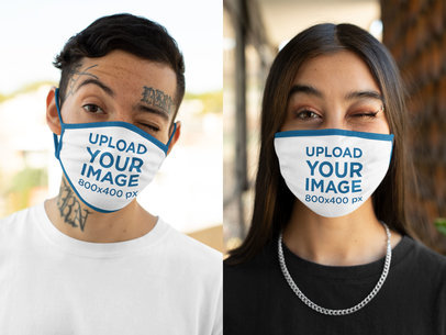 Face Mask Mockup of Two Young Persons Doing Funny Faces m628