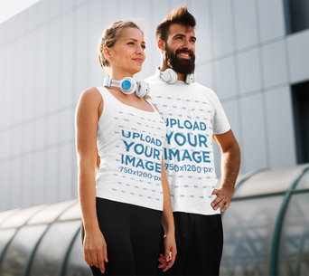 Tank Top and T-Shirt Mockup Featuring a Man and a Woman Standing Next to Each Other 44879-r-el2