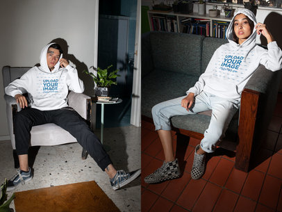 Hoodie Mockup of a Man and a Woman Chilling at Home m617