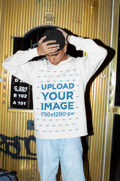 Sweatshirt Mockup of a Young Man with His Hands on His Head M580