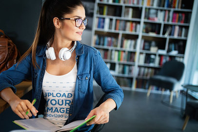 Tank Top Mockup of a Woman with Glasses at a Library 41002-r-el2
