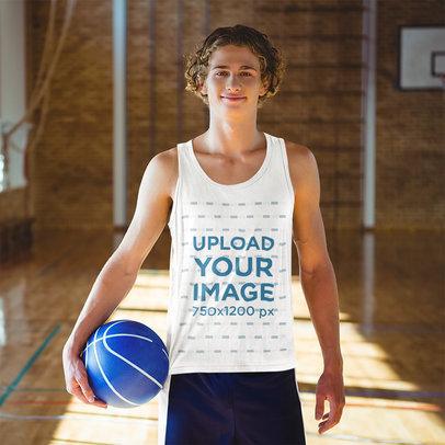 Tank Top Mockup of a Teenage Boy at a Basketball Court 44793-r-el2