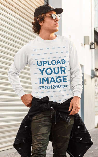 Long Sleeve Tee Mockup Featuring a Serious Man With Sunglasses m530