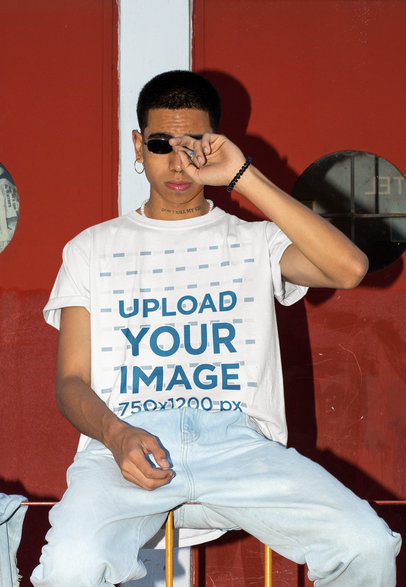 Mockup of a Man with a Hip-Hop Style Wearing a T-Shirt and Sunglasses m577