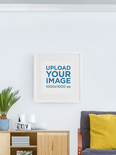 Mockup Featuring a Square Art Print Against a Customizable Background m904